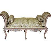 American carved painted upholstered window seat