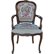 Vintage Chateau D'Ax  French Provincial Tapestry Ornate Carved Arm Chair