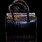 Vintage Black Alligator Skin Double Handle Kelly Handbag Purse Beautiful
