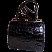 Vintage Bellestone Black Alligator Skin Handbag Purse Beautiful