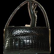 Vintage Coblentz Black Alligator Skin Handbag Purse Beautiful