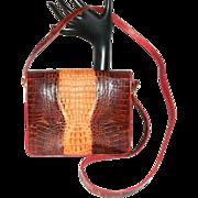 Vintage Crocodile Reddish Brown Shoulder Bag Purse Beautiful
