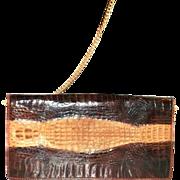 Vintage Crocodile Tan and Brown Shoulder Bag Purse Beautiful