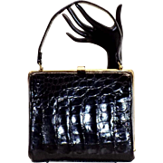 Vintage Bellestone Black Alligator Skin Kelly Handbag Purse Beautiful