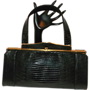 Vintage Escort Black Lizard Skin Barrel Handbag
