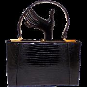 Vintage Black Escort Lizard Skin Kelly Handbag Purse Beautiful