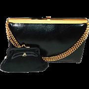 SALE Vintage Koret Black Goat Skin Leather Clutch Handbag Purse Beautiful Rare