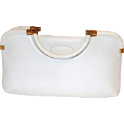 Vintage Judith Leiber White Karung Snake Skin and Leather Kelly Handbag Clutch Purse Beautiful