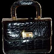 Vintage Black Alligator Skin Sterling Kelly Handbag Purse Beautiful