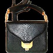 SALE Vintage Nicholas Reich Black Snake Skin Handbag Purse Beautiful