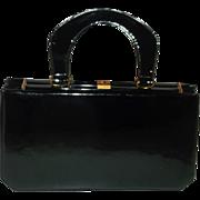 SALE Vintage Saks Fifth Avenue Black Patent Leather Handbag Purse Beautiful