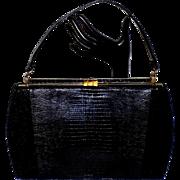 Vintage Sydney of California Black Lizard Skin Handbag