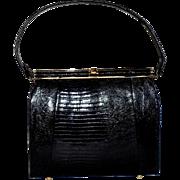 Vintage Lizard Skin Black Handbag
