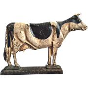 Charming Antique Cast Iron Door Stop in the Shape of a Holstein Dairy Cow, with ...