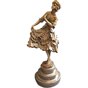Charming Vintage Bronze Statue of a Young Lady with Ruffled Skirt in a Curtsy Signed ...
