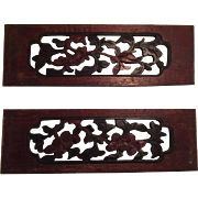 Pair of Antique Chinese Carved Wood Panels