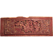 Antique Chinese Carved Wooden Panel in Red with Gilt Edges Depicting Two Men and a ...