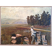 Oil painting on canvas of bee keeper, signed and dated '83