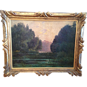 Oil Painting of Man Fishing in Wooded Country Setting