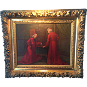 Oil Painting on Canvas of Two Cardinals in Red Robes, Signed, Beautiful Hand-Carved Antique ..