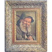Charming Oil Painting of an Alpine Man in a Hat Smoking a Pipe, by Hans ...