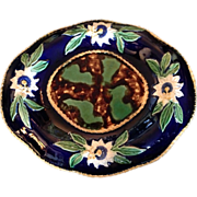 Majolica Platter with Cobalt Blue Floral Rim and Mottled Center