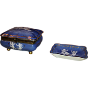 Porcelain Vanity Box and Small Tray in blue and white