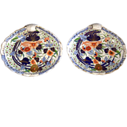 Pair of Antique English Coalport Imari Porcelain Shell-Shaped Plates