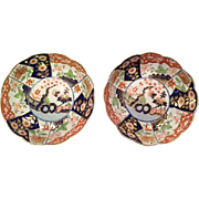 "Early Pair of Antique Derby ""Rock and Tree"" Imari Scalloped Rim Plates, c 1770's"