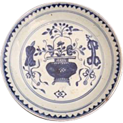 Antique Chinese Export Blue and White Bowl / Plate, Late Ming Dynasty, Wanli Period c 1573 ...