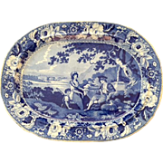 Magnificent English Antique Transferware Platter with Pastoral Country Scene of a Family and .