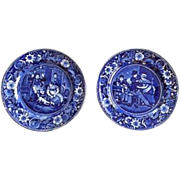 "Excellent Pair of Antique English Clews Staffordshire Plates ""From Wilkie's Designs"""