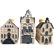 Three (3) KLM / BOLS Blue Delft Miniature Houses,  including #4, #20, #7.  Excellent Condition