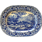 English Antique Staffordshire Swansea Pearlware Blue and White Platter Depicting Country ...