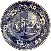 "Antique English ""Clews"" Blue Staffordshire Plate, of the ""Dr. Syntax"" Lite"