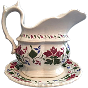 Charming Antique Staffordshire Cream Pitcher on Toddy Plate Stand, Trailing Foliated Design in