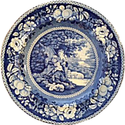 "Charming Antique English Staffordshire Blue Transfer Plate with ""Shelter'd Peasants"""