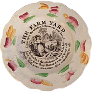 Child's Staffordshire Transferware Plate with Farm Scene of Young Girl Feeding Chickens, Circa
