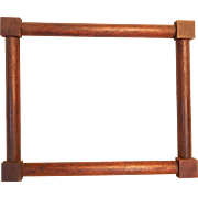 Antique Small Corner Block Walnut Picture Frame