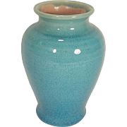 Pisgah Forest Pottery Vase Turquoise Crackle Glaze 1939