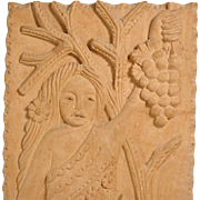 Wood Carving Plaque Girl with Grapes Vintage Folk Art