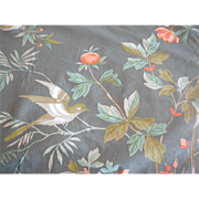 "Vintage Fabric ""Haselmere"" Greeff Floral Toile Birds 3+ Yards"