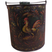 Peter Ompir Folk Art Hand Painted Large Metal Bucket with Rooster Signed
