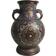 Intricate Large Japanese Champleve Enameled Bronze Vase