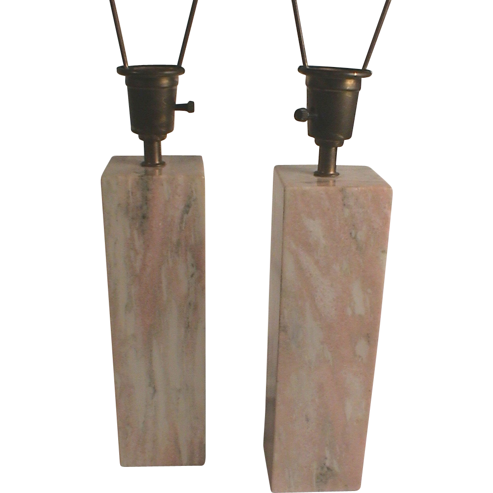 Large Pink Marble Table Lamps C 1950 Vermont Mid Century