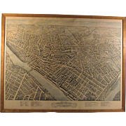 Antique Birds Eye City View Lowell, MA Lithograph Pub. C.H. Vogt 1876