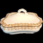 Haviland Limoges White & Gold Leaves Covered Serving Dish H4300