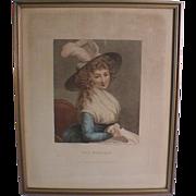 "18th Century Georgian English Mezzotint print Portrait ""The Reverie"" Proof Edition"