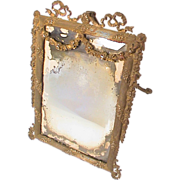 SOLD Antique Victorian Ornate Cast Iron Vanity Easel Mirror