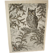 Masaharu Aoyama Japanese Woodblock Print Owl and Moon Pencil Signed